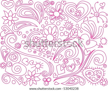 Love doodle. For vector or color version see my portfolio. - stock photo