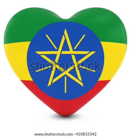 Love Ethiopia Concept Image - Heart textured with Ethiopian Flag