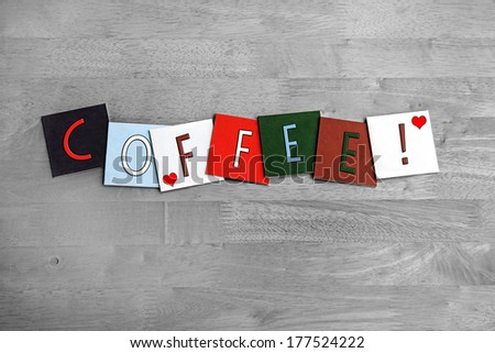Love for Coffee, sign series for beverages, menu, coffee drinkers and caffeine, with heart symbols. - stock photo