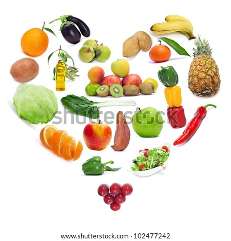 love for the healthy food: fruits and vegetables forming a heart - stock photo