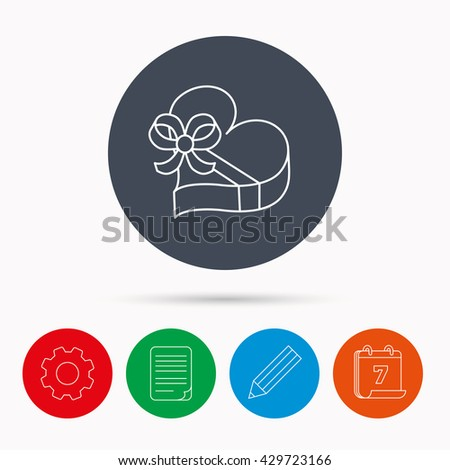 Love gift box icon. Heart with bow sign. Calendar, cogwheel, document file and pencil icons. - stock photo
