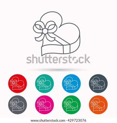 Love gift box icon. Heart with bow sign. Linear icons in circles on white background. - stock photo