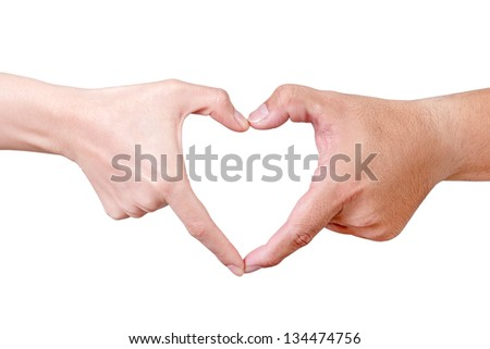 Love hand sign isolated on white