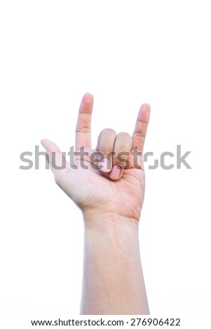 Love hand sign isolated on white background  - stock photo