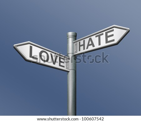 love hate opposite choice like it or not positive or negative different taste