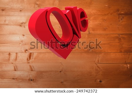Love heart against overhead of wooden planks