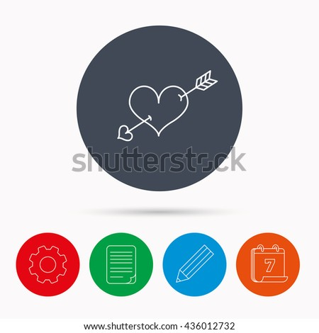 Love heart icon. Amour arrow sign. Calendar, cogwheel, document file and pencil icons. - stock photo