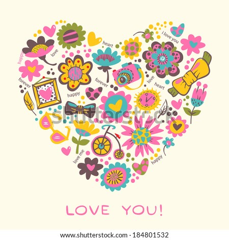 Love Heart made of flowers and fashionable things. Raster version. Template for design cartoon greeting card, wedding invitation, Valentines day background