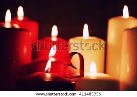 love heart shape candle - stock photo