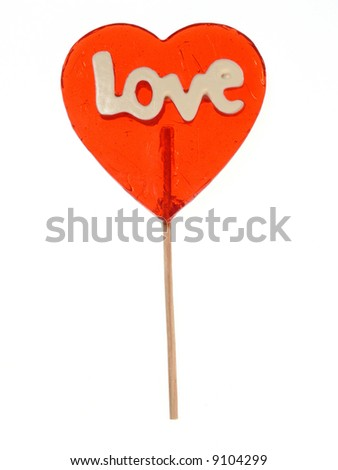Love - Heart shape lollipop - stock photo