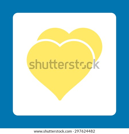 Love icon from Award Buttons OverColor Set. Icon style is yellow and white colors, flat rounded square button, blue background. - stock photo