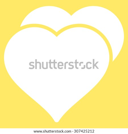 Love icon. Glyph style is flat symbols, white color, rounded angles, yellow background. - stock photo