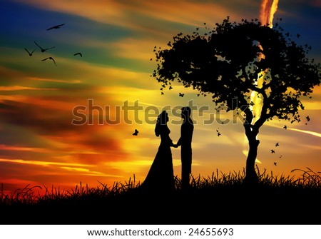 love in the colored nature - stock photo