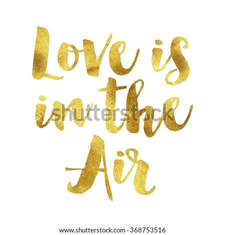 Love is in the air written in gold leaf, romantic valentines message - stock photo