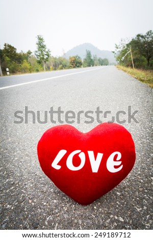 Love is like a car traveling on Valentine's Day. - stock photo