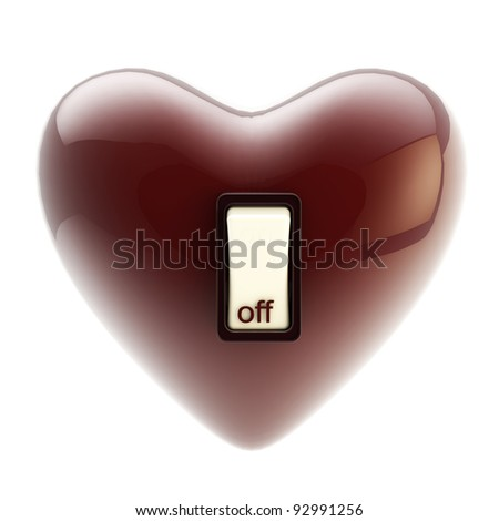 Love is off glossy switch heart tumbler isolated on white