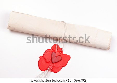 love letter sealed the seal in the form of heart in red sealing wax