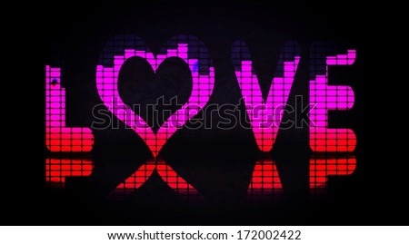 Love letters with equalizer effects - stock photo