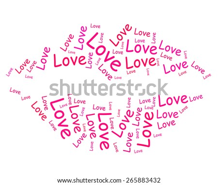 Love Lips Showing Kiss Kissing And Romance - stock photo