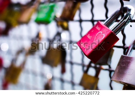love lock on a bridge - stock photo