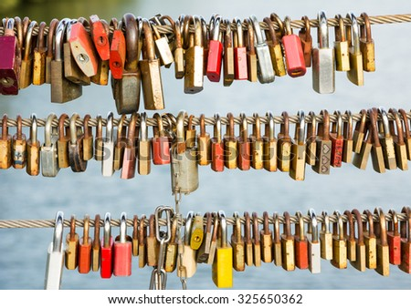 Love locks as symbol for everlasting love - stock photo