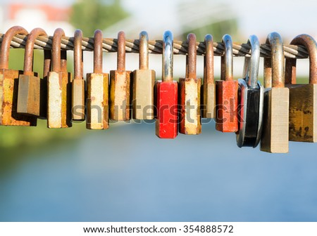 Love locks as symbol for everlasting love - stock photo