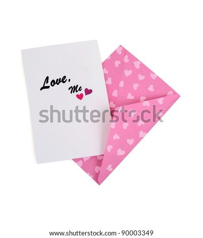 Love Me Card with Pink Hearts Envelope