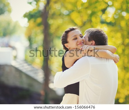 Love me tender love me sweet never let me go. Young couple bonding. - stock photo