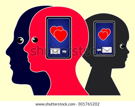 Love Messages with Cell Phones. Family members exchanging their feelings on the mobile phone