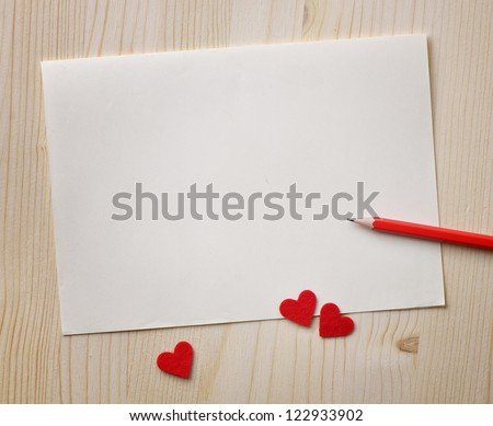 Love notes. Background for design with red hearts and red pencil - stock photo