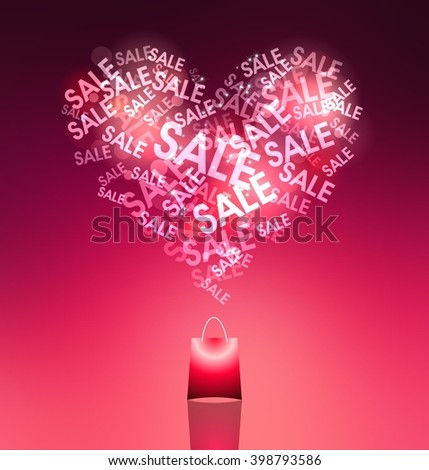 "Love of shopping. Pink shopping bag. The heart consists of the words ""Sale"". - stock photo"