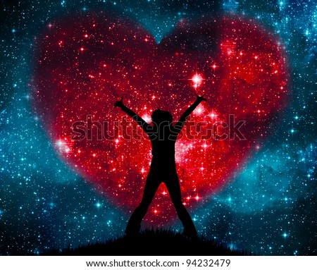 Love on the starry sky - stock photo