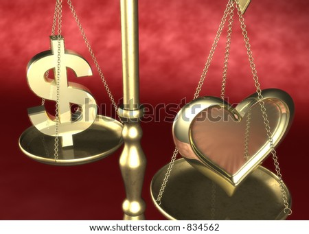 Love or Money Scale 3D - stock photo