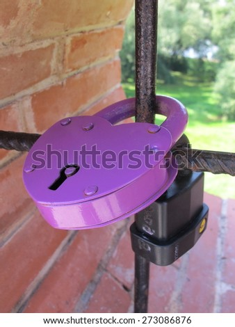 Love padlock affixed to a bridge fence in park - stock photo