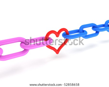 Love. Pink and blue Chains with red heart isolated on white background. High quality 3d render.