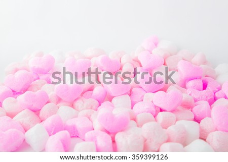 Love, Pink foam hearts, Background ,for valentines day
