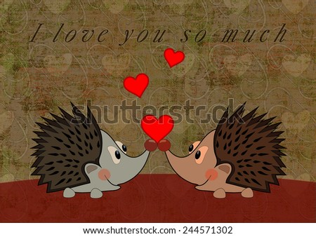 Love postcard with hedgehogs - stock photo