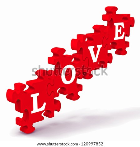 Love Puzzle Showing Couples In Love And Weddings