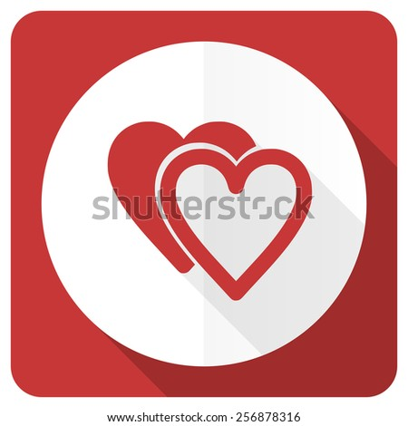 love red flat icon sign hearts symbol  - stock photo