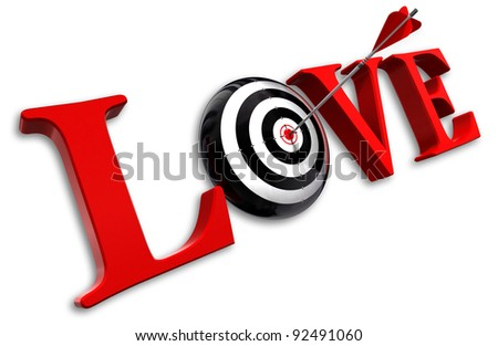 love red word and conceptual target with arrow on white background