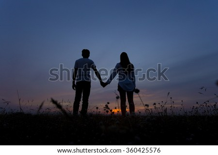 love romance in the meadow - stock photo