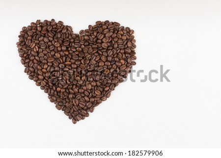 love sign made of coffee beans - stock photo