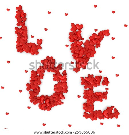 Love sign made of hearts. 3d illustration on white background