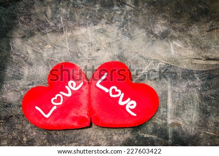 Love sign on wood background, valentine day.