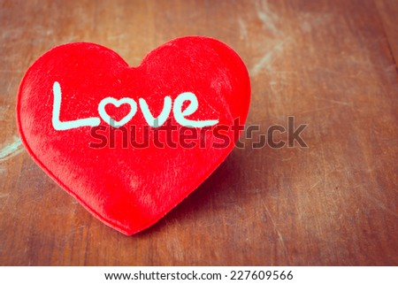 Love sign on wooden, Valentine day. - stock photo