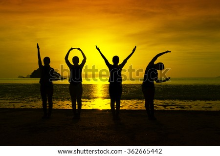 love silhouette at sunset - stock photo