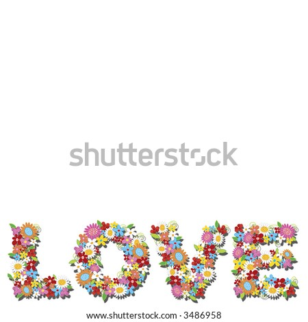 LOVE spring flowers (raster) - illustrated alphabets with copy space