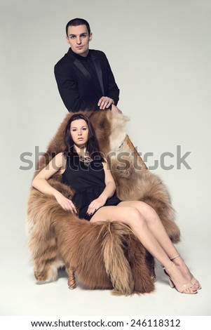 Love story. Man, women, love, sexy, modern concept of love story. Be married many times. Polygamist. Love story between one man and one woman. Love or jealousy, lover or wife. Mistress behind. - stock photo