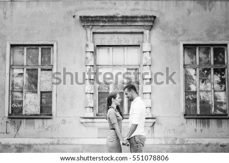 Love story, models, love, couple in love, black and white photo