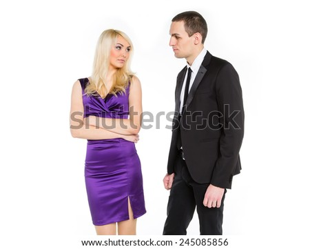 Love story office staff. Feelings of love, hate, jealousy, passion, or not. The possibility of love between office employees. Colleagues their love relationship. Man makes attentions woman at work. - stock photo